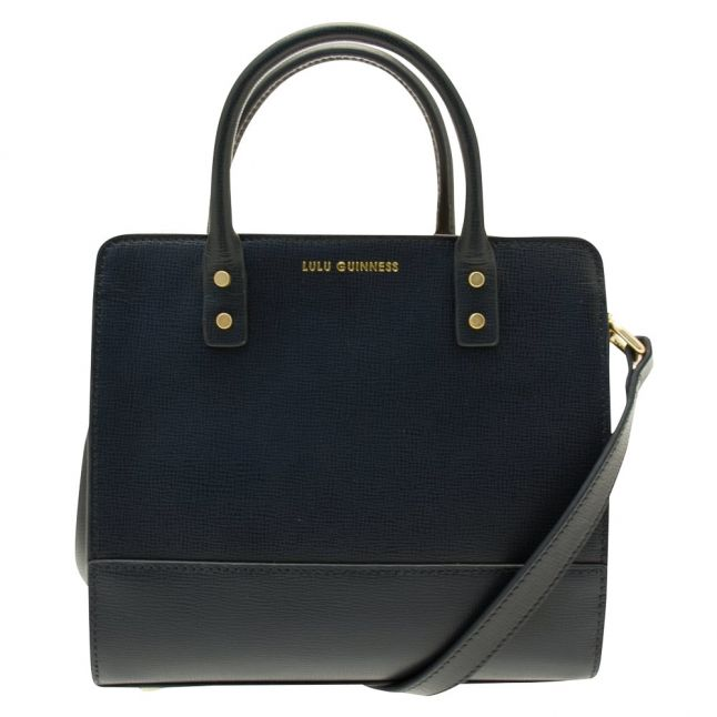 Womens Navy Textured Leather Square Daphne Bag