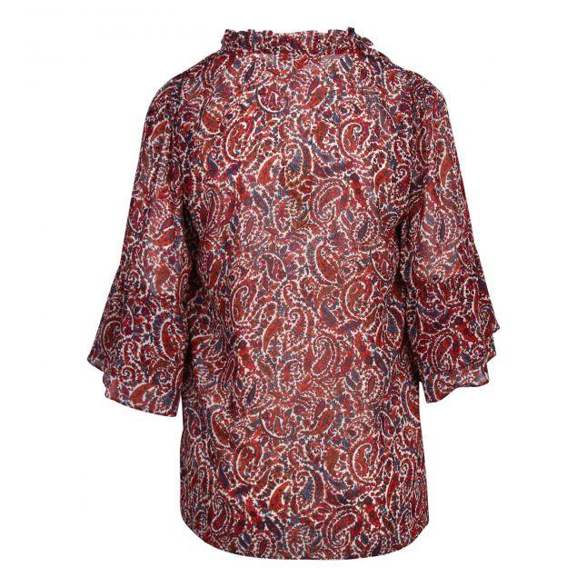 Womens Dark Ruby Lush Paisley Bell Sleeve Blouse