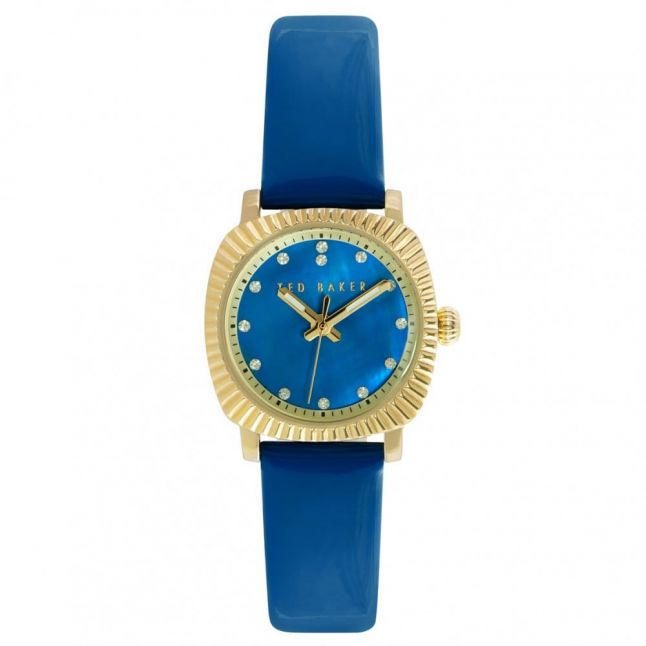 Womens Blue Mother Of Pearl Dial Leather Strap Watch