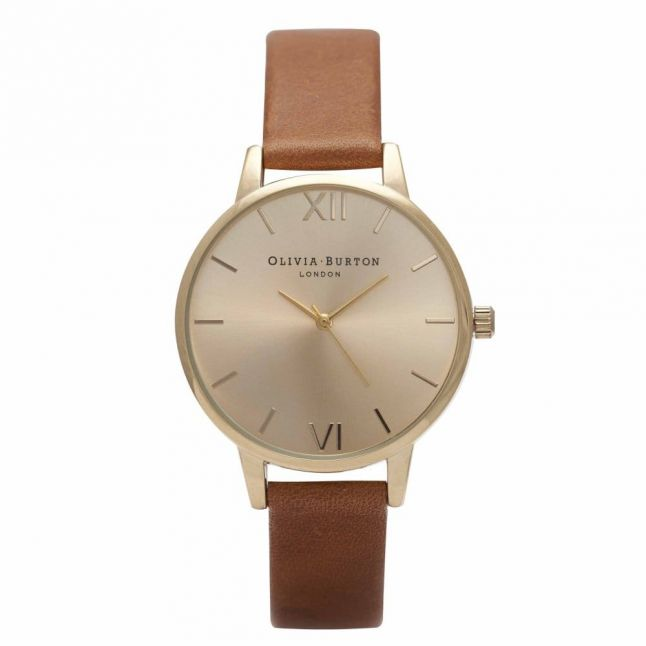 Womens Tan & Gold Midi Dial Watch