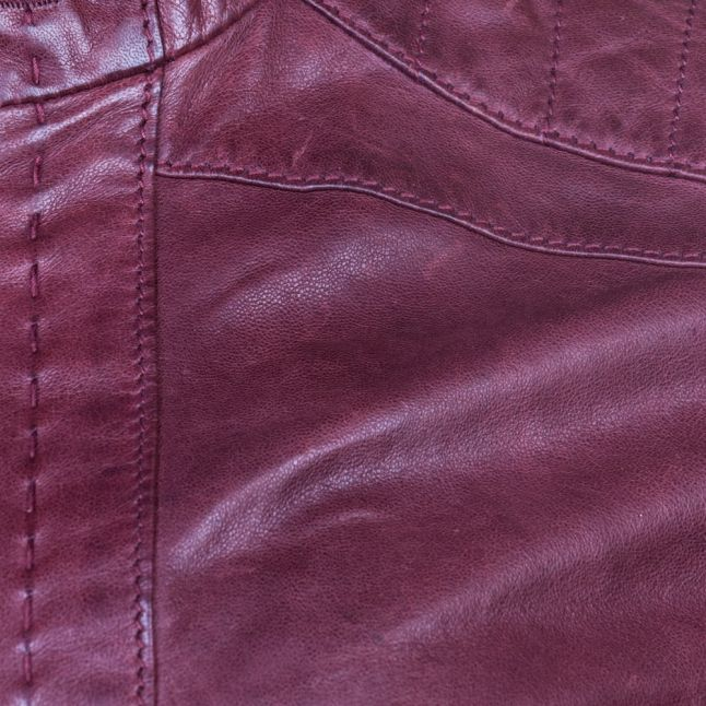 Womens Dark Red Janabelle Leather Jacket