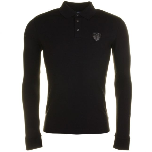 Mens Black Training Soccer Back Printed L/s Polo Shirt