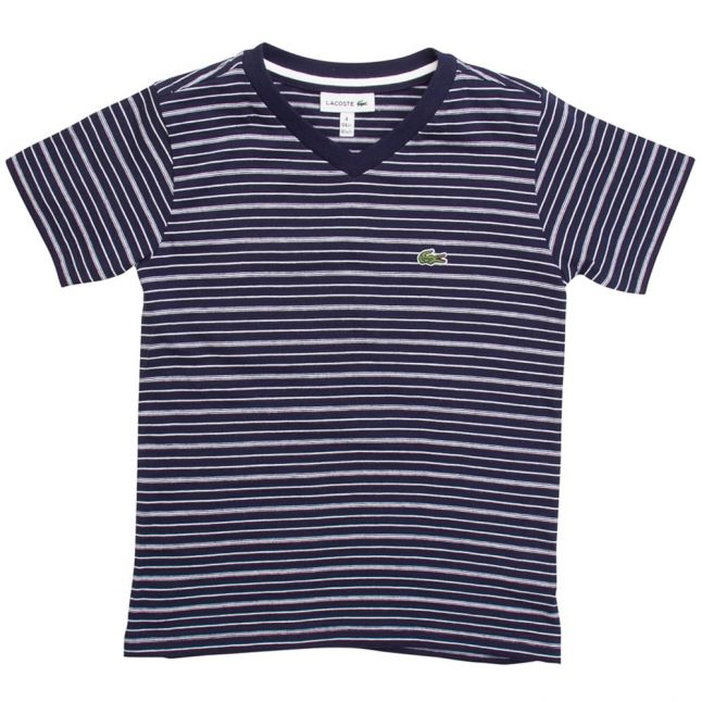 Boys 525 Navy Striped S/s Tee Shirt