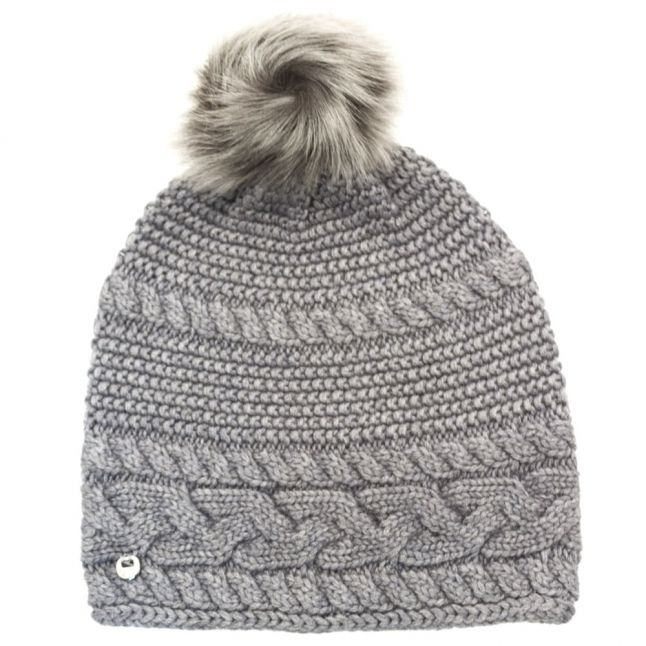 Womens Steel Heather Cable Knit Oversized Beanie Hat