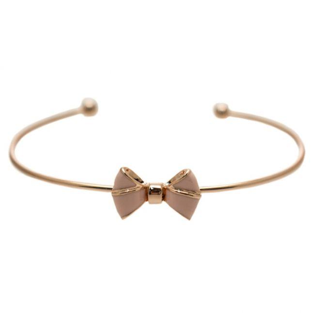 Womens Rose Gold & Baby Pink Edene Bow Fine Cuff Bracelet