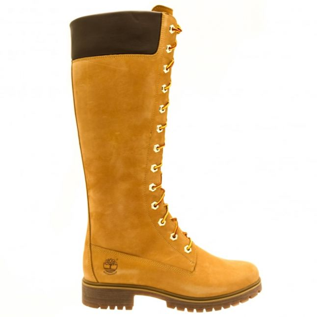 Womens Wheat 14 Inch Side-Zip Lace-Up Boots