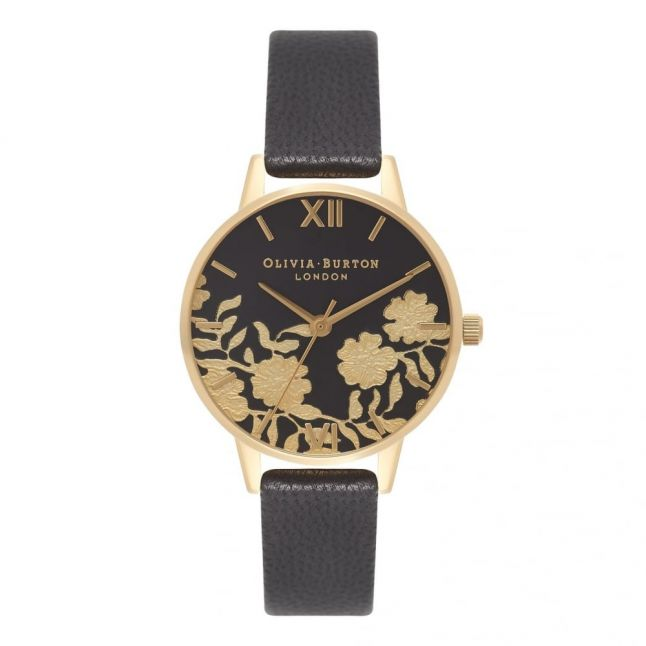 Womens Black & Gold Lace Detail Midi Dial Watch