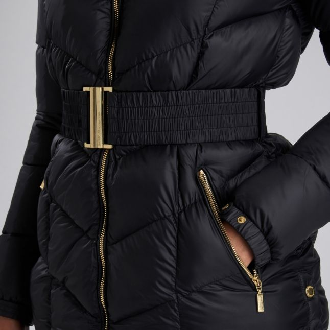 Womens Black Highpoint Hooded Quilted Coat