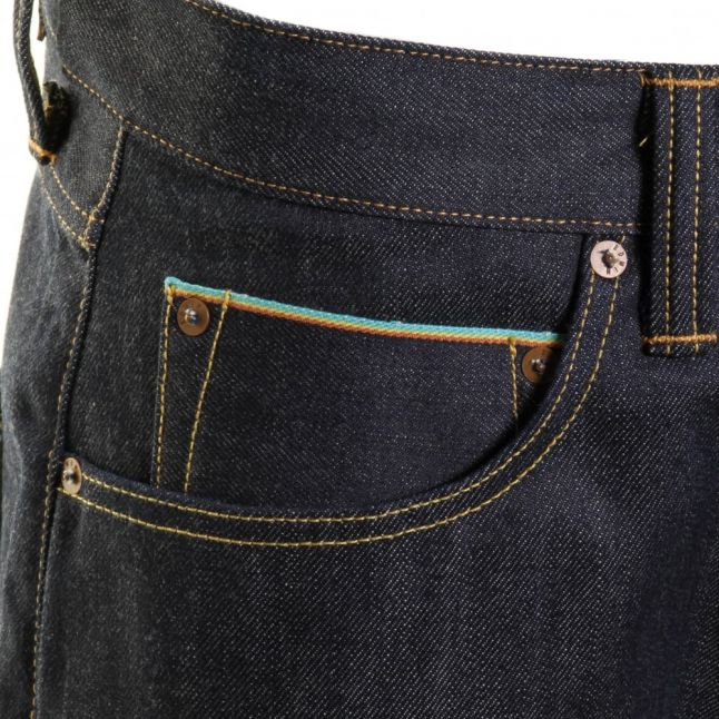 Mens 12.08oz F9.99 Blue Unwashed ED-55 Rainbow Selvage Relaxed Tapered Fit Jeans