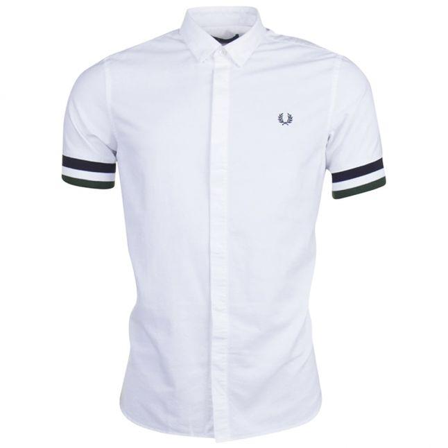 Mens White Striped Cuff S/s Shirt