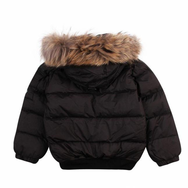 Girls Black Aviator Fur Hooded Bomber Jacket