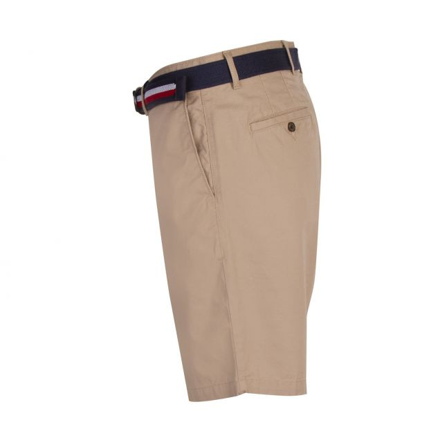 Tommy Hilfiger Mens Beige Brooklyn Light Twill Belted Shorts