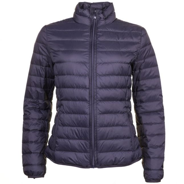 Womens Blue Duck Down Baffle Quilted Jacket