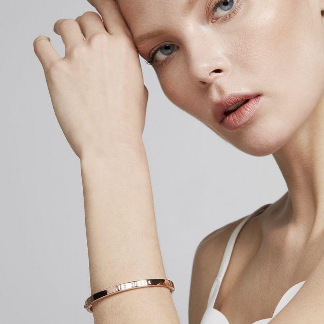 Womens Rose Gold Clemina Hinge Metallic Bangle Bracelet