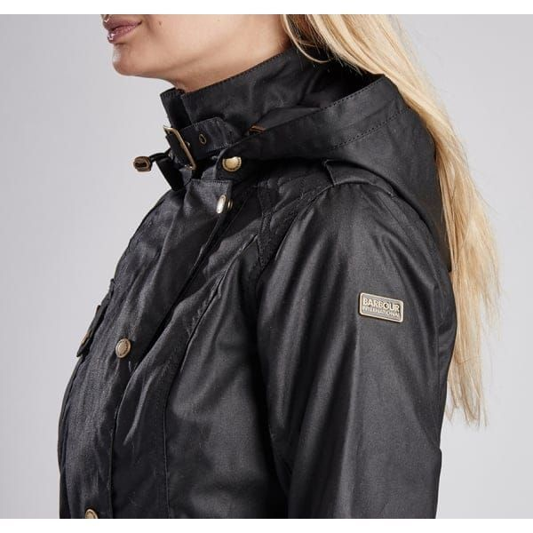 Womens Black Hairpin Hooded Waxed Jacket