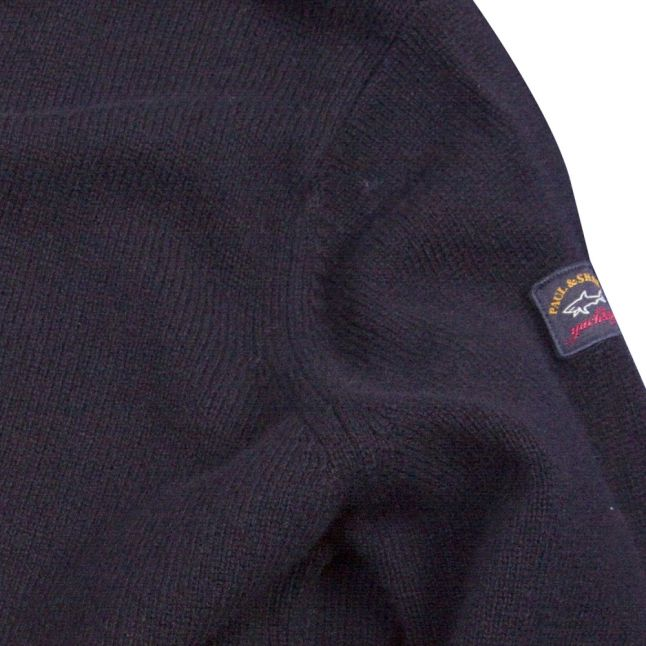 Mens Navy Lambswool Crew Neck Knitted Top