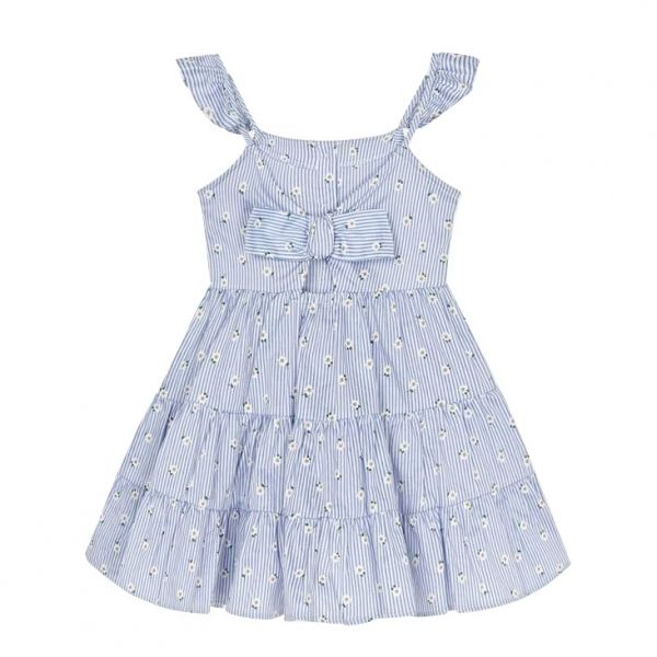 Girls Blue Daisy Stripe Cotton Dress