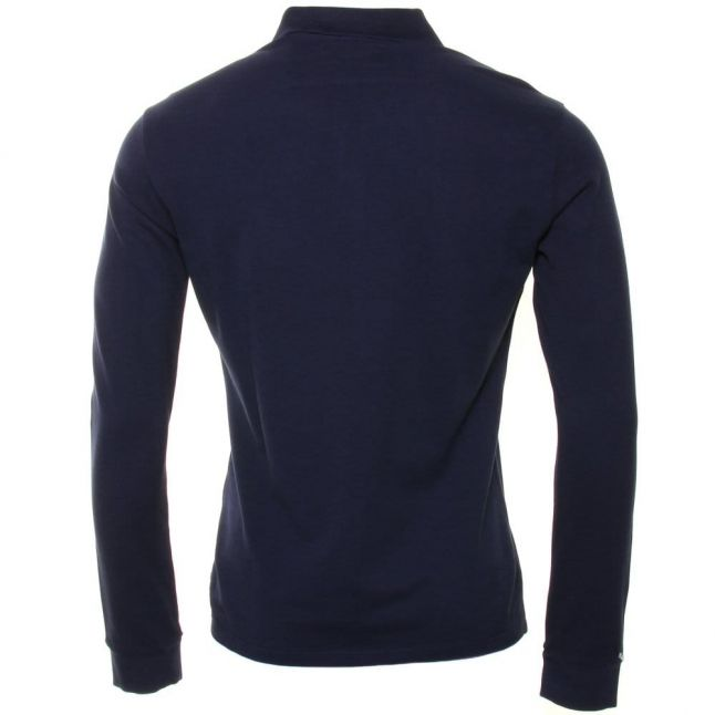 Mens Blue Muscle Fit L/s Polo Shirt