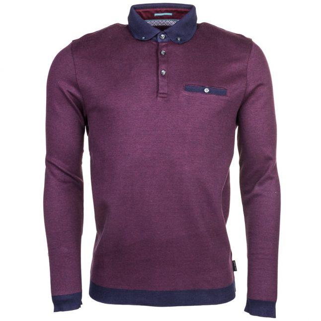 Mens Purple Ronaldo Oxford L/s Polo Shirt