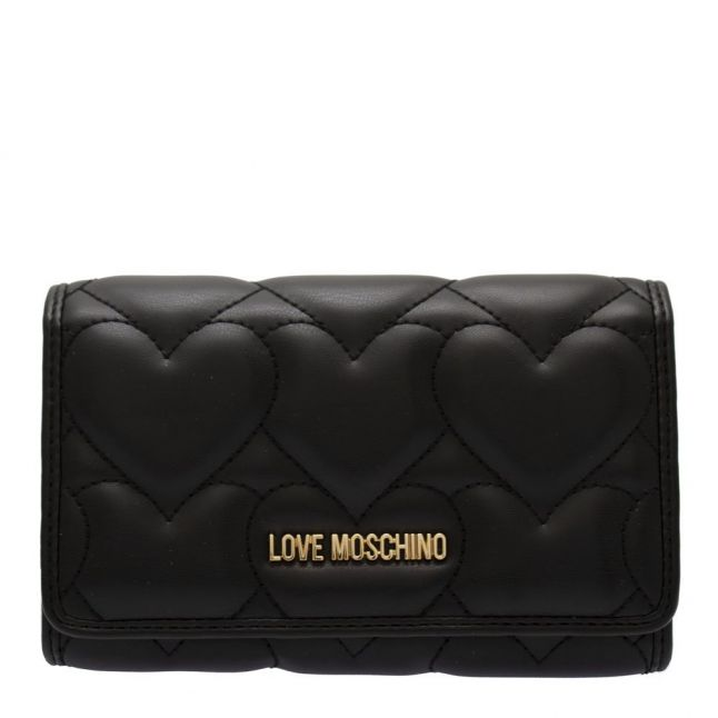 Womens Black Heart Quilted Medium Wallet