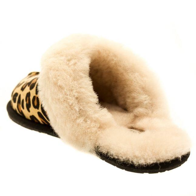Womens Chestnut Scuffette II Calf Hair Leopard Slippers