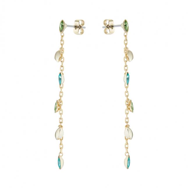 Womens Gold/Green Craysha Crystal Vine Earrings