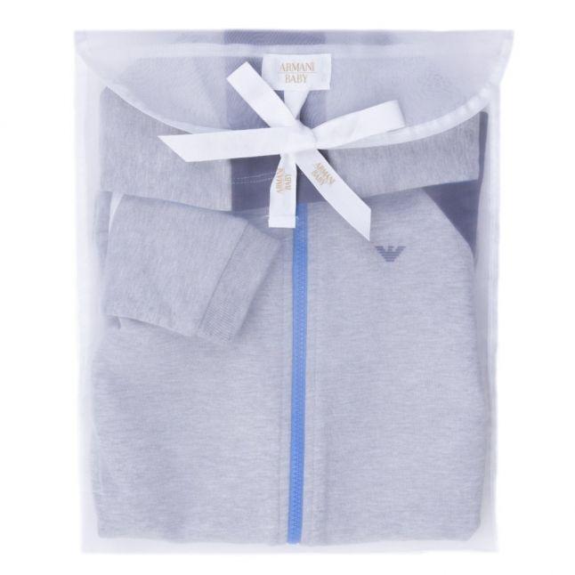 Baby Grey Melange Zip Hooded Sweat Romper Suit