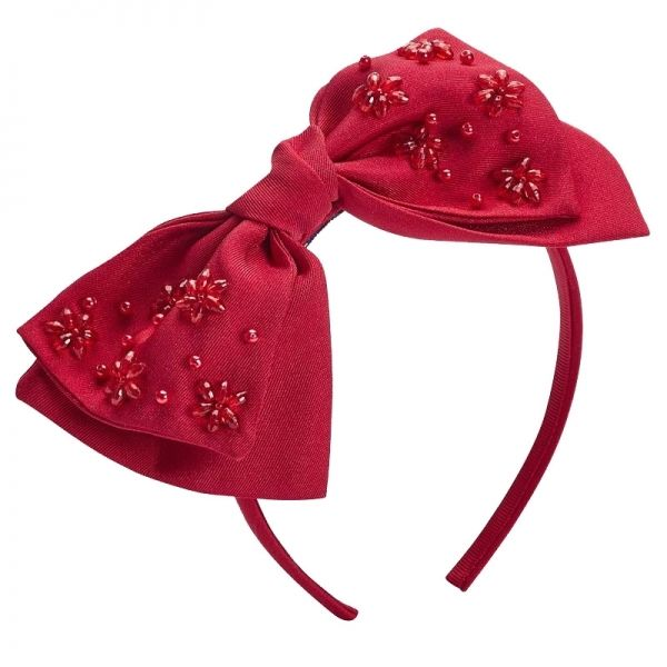 Girls Red Satin Bow Headband