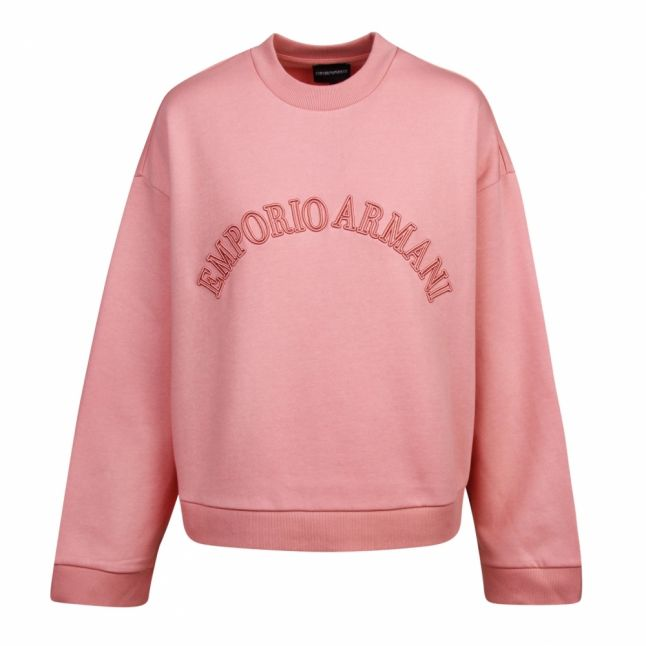 Womens Pink Embroidered Logo Sweat Top