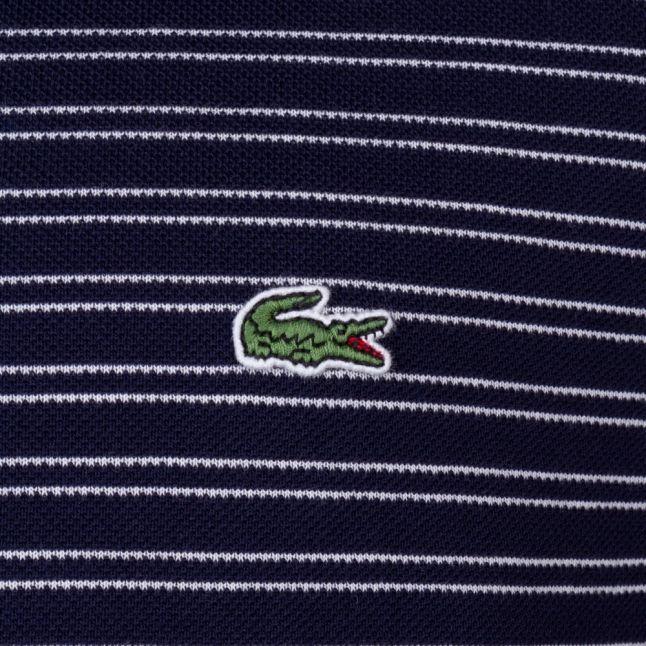 Mens Blue & White Fine Stripe S/s Polo Shirt