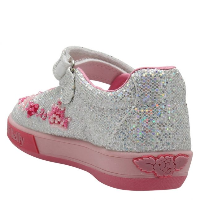 Girls Silver Glitter Tiara Dolly Shoes (25-33)