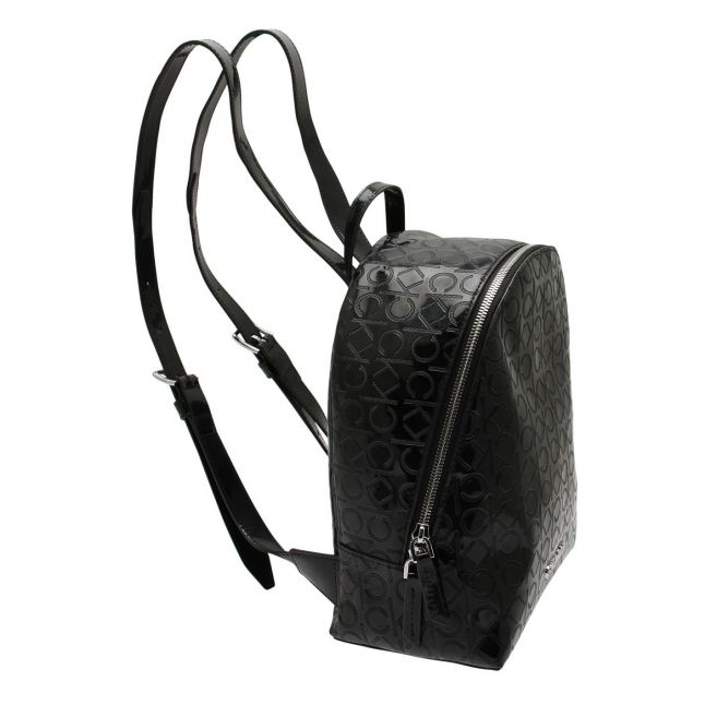 Womens Black Must Embossed Patent Backpack