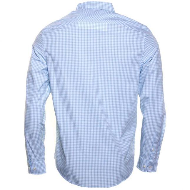Mens Crystal Blue Gingham Slim Fit L/s Shirt