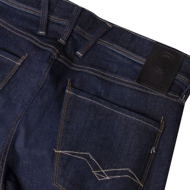Mens Dark Blue Anbass H-flex Re-Used Slim Fit Jeans