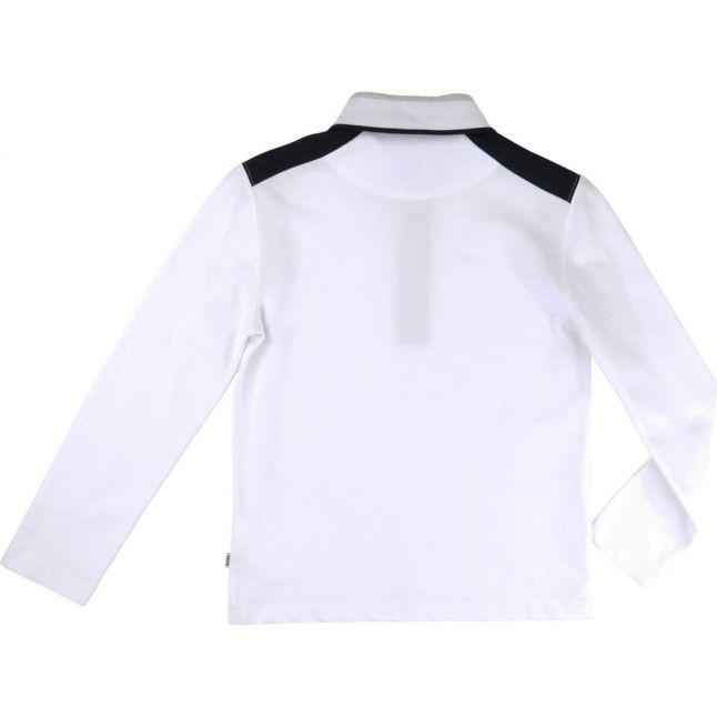 Boys White Shoulder Panel L/s Polo Shirt