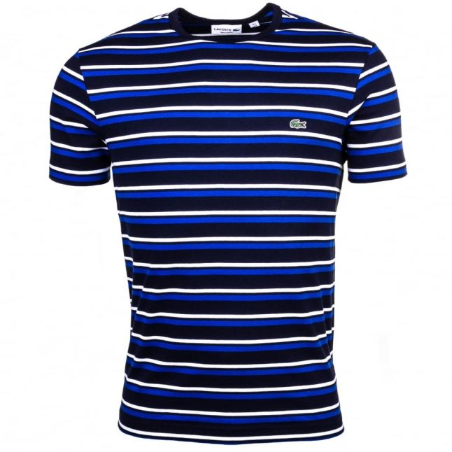 Mens Navy & Steamer Striped Crew S/s Tee Shirt