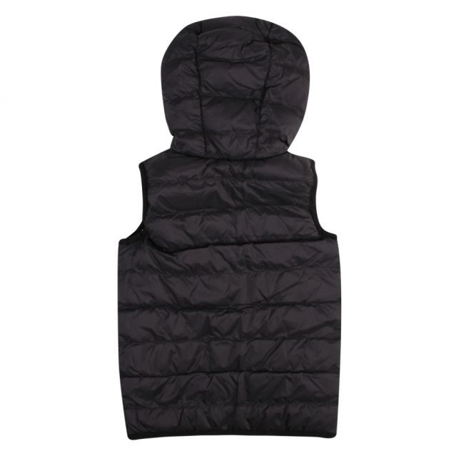 Boys Navy Branded Tape Hooded Gilet