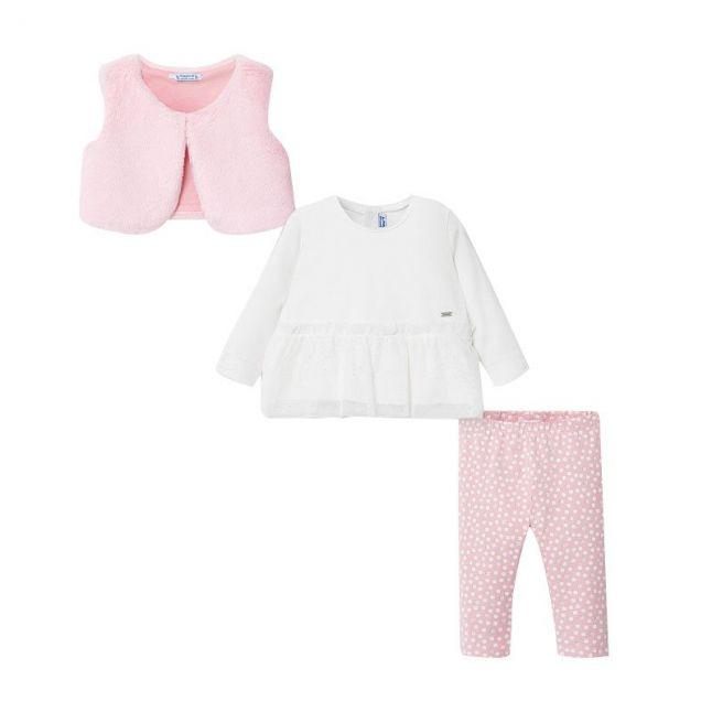 Infant Rose Faux Fur Gilet & Leggings Set