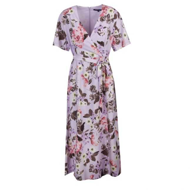 Womens Lavender Frost Armoise Crepe Maxi Wrap Dress