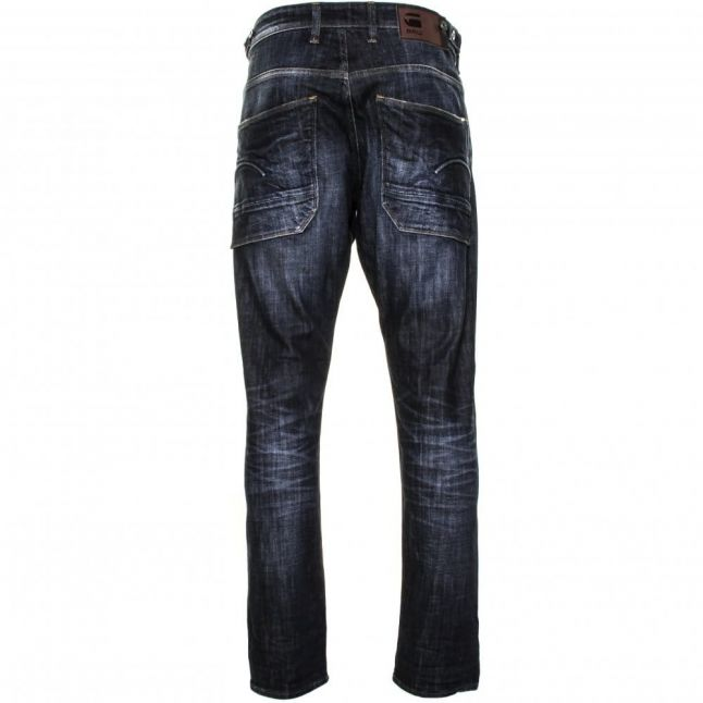 Mens Dark Aged Wash Holmer Tapered Fit Jeans