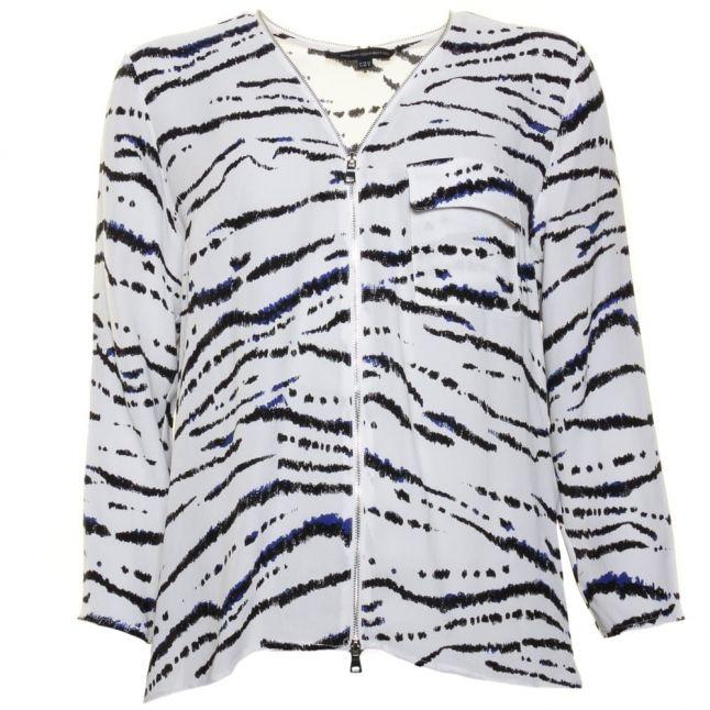 Womens Summer White Multi Tapir Wave Crepe Shirt