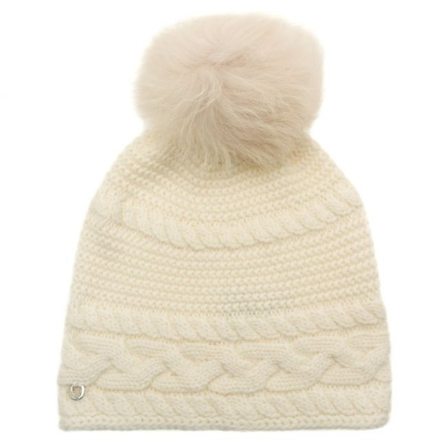 Womens Ivory Cable Knit Oversized Beanie Hat
