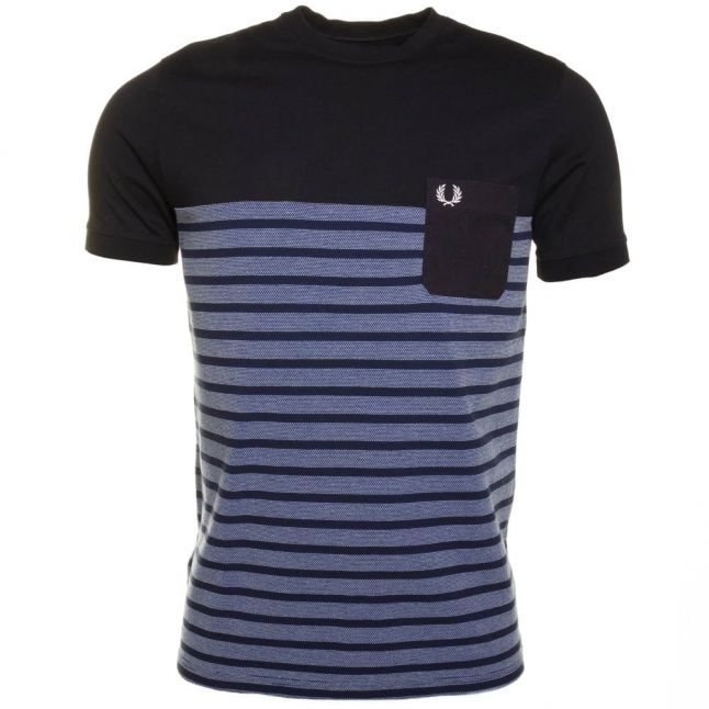 Mens Cobalt Pique Stripe Ringer S/s Tee Shirt
