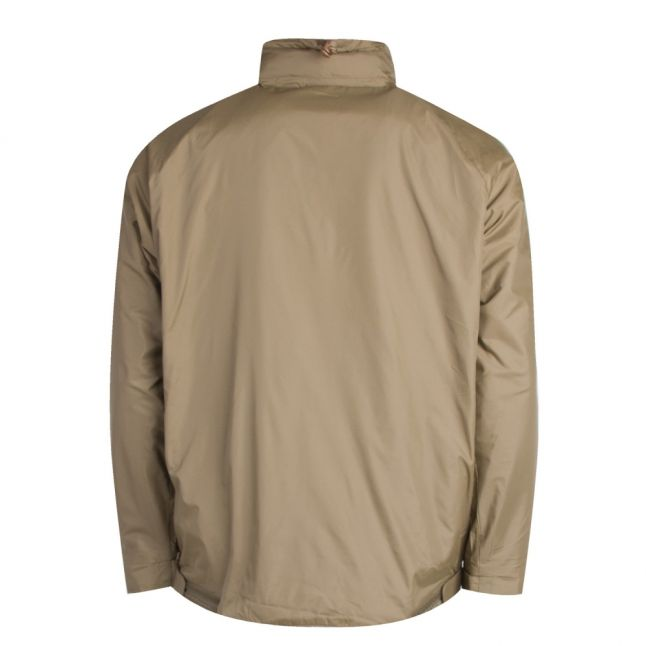 Mens Dark Khaki Half Zip Hooded Jacket