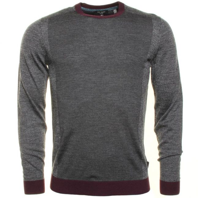 Mens Grey Lewcat Crew Knitted Jumper