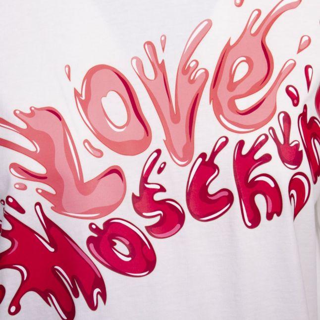 Womens White/Pink Splash Logo S/s T Shirt