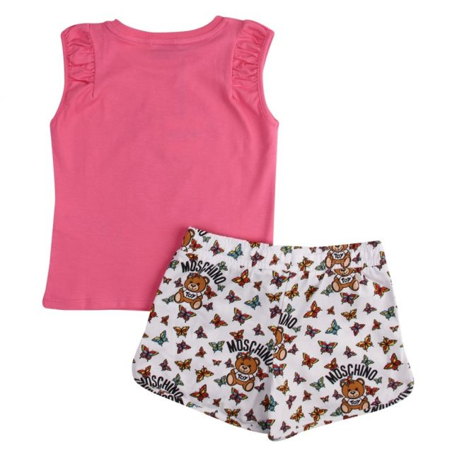 Girls Dark Pink Toy Butterfly Top & Shorts Set