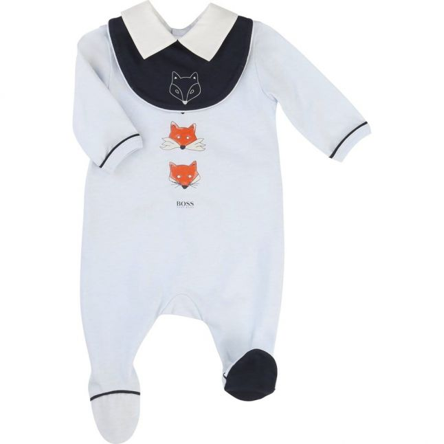 Baby Blue Fox Print Babygrow & Bib