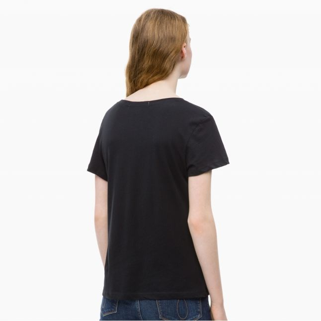 Womens Black Institutional Logo Slim Fit S/s T Shirt