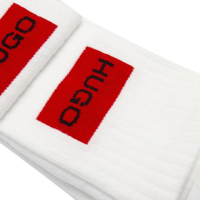 Mens White 2 Pack Rib Label Sports Socks